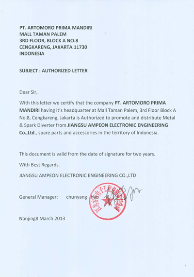 Official Appointment Letter from AMPEON
